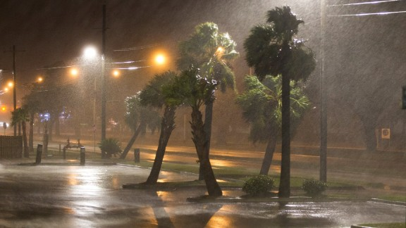 BILOXI,MS-OCTOBER 7, 2017:  The eye of Hurricane Nate pushes ashore at a category 1 storm in Biloxi, Mississippi October 7, 2017. (Photo by Mark Wallheiser/Getty Images)