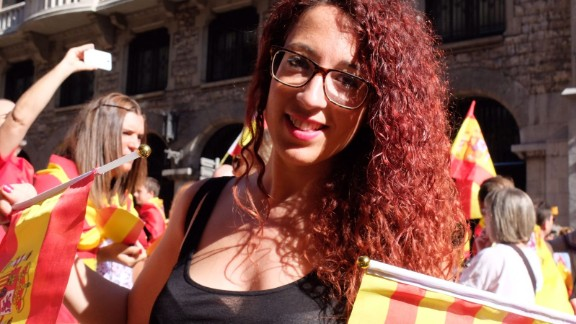 Alba Sebastian, 29, says she is worried that factories will close and the economy will take a hit if Catalonia leaves Spain.
