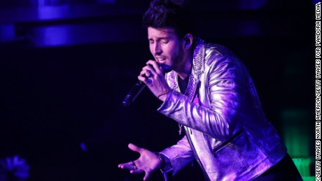 LAS VEGAS, NV - NOVEMBER 17:  Sebastian Yatra performs on stage at the Pandora Noche De Musica on November 17, 2016 in Las Vegas, Nevada.  (Photo by Rich Polk/Getty Images for Pandora Media, Inc.)