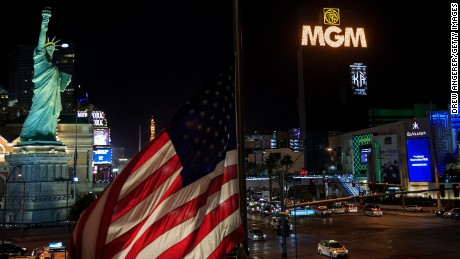 Marquees on the Las Vegas Strip, including the MGM Grand's, went dark for 11 minutes Sunday.