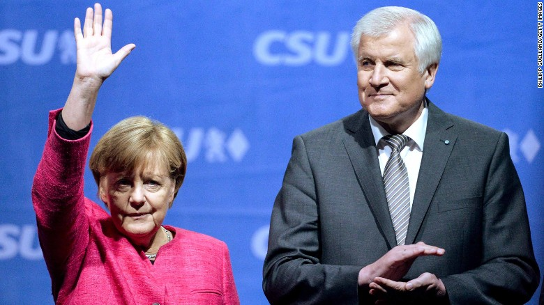 German Chancellor Angela Merkel and now Interior Minister Horst Seehofer at a rally in Munich in September 2017.