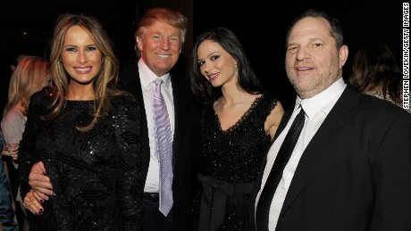 "NEW YORK - DECEMBER 15:  (L-R) Melania Trump, Donald Trump, Georgina Chapman and Harvey Weinstein attend the after party of the New York premiere of ""NINE"" at the M2 Ultra Lounge on December 15, 2009 in New York City.  (Photo by Stephen Lovekin/Getty Images for The Weinstein Company)"