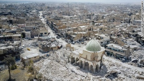 The remains of the Great Mosque of al-Nuri stand among the rubble in Mosul on July 29.