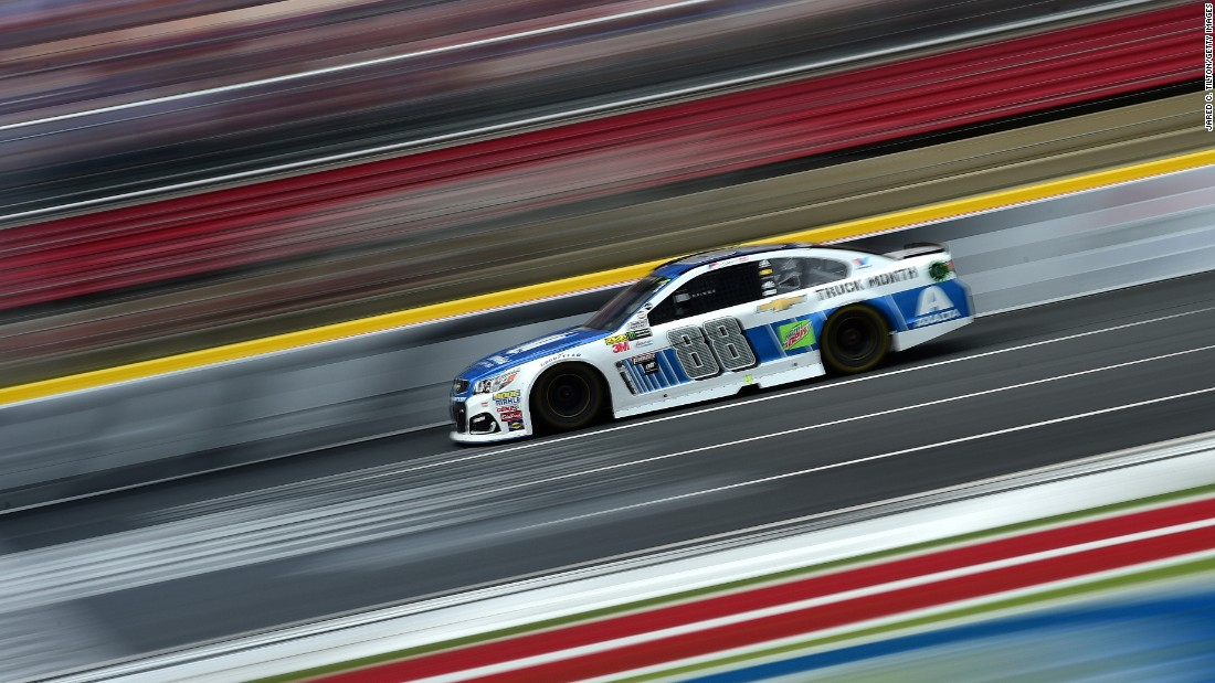 Dale Earnhardt Jr. races during the Monster Energy NASCAR Cup Series Bank of America 500 at Charlotte Motor Speedway on Sunday, October 8 in North Carolina.