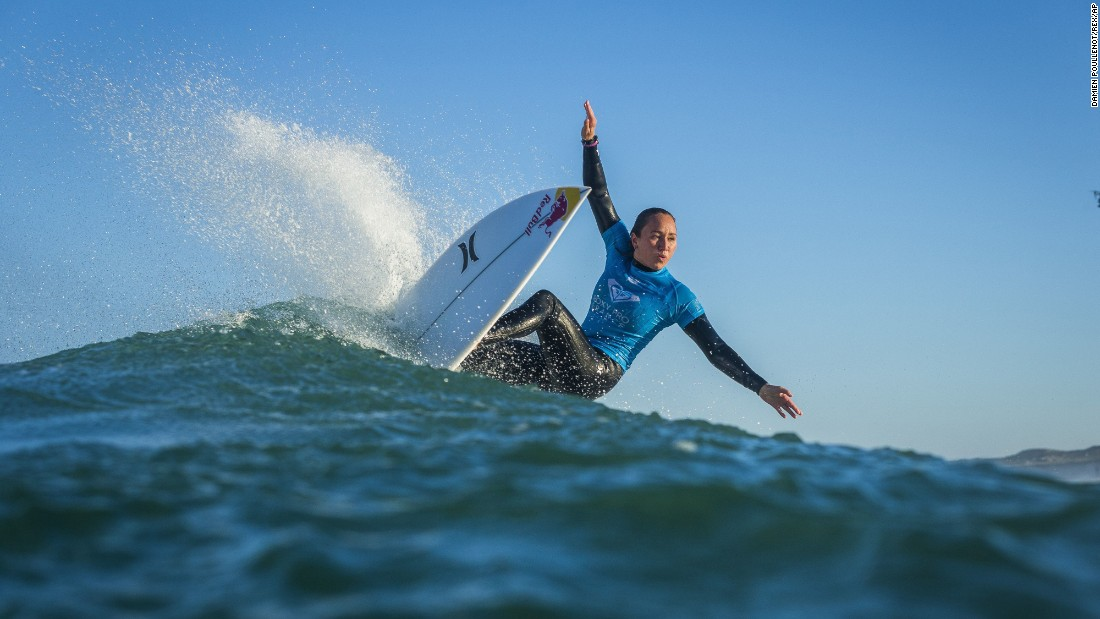 Surfer Carissa Moore rides a wave at the Roxy Pro France tournament on Sunday, October 8. Moore placed second in the first heat of Round 3 and advanced to the semifinals.