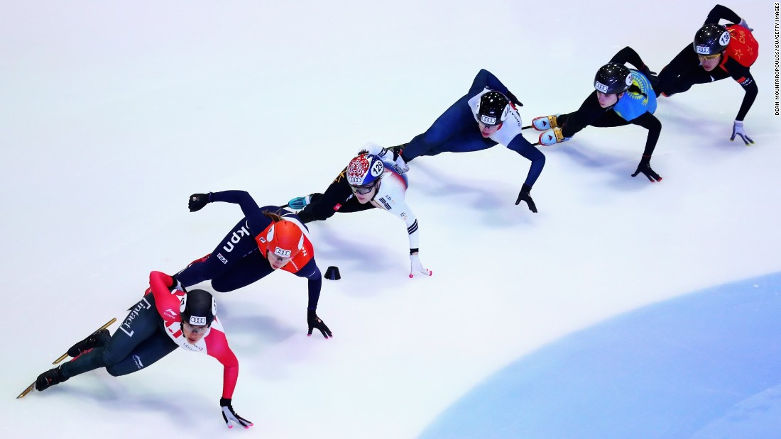 Speed skaters Valerie Maltais of Canada, Suzanne Schulting of the Netherlands, Charlotte Gilmartin of Great Britain and Yu Bin Lee of Korea compete in the 1000m Women's Semi Final on Sunday, October 8 in Dordrecht, Netherlands.