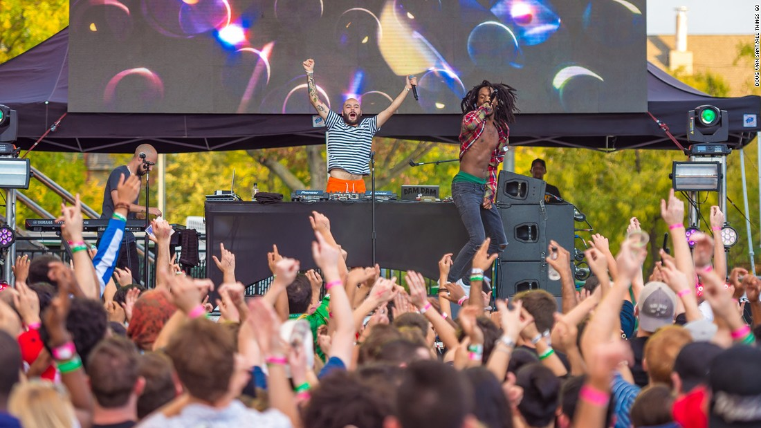 Chicago rapper SABA performs during day two of the festival on Saturday, October 7, 2017.