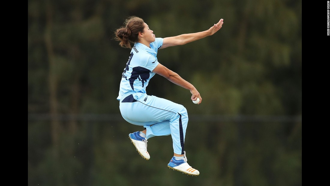 Belinda Vakarewa of New South Wales bowls during the WNCL match against Queensland at Blacktown International Sportspark on Friday, October 6, in Sydney.