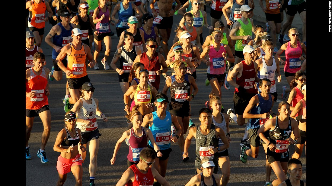 Runners participate during the Chicago Marathon on Sunday, October 8. Crossing the finish line at 2 hours 9 minutes and 20 seconds, Galen Rupp became the first American since 2002 to win the race. Ethiopian Tirunesh Dibaba won the women's race in 2 hours 18 minutes and 31 seconds.