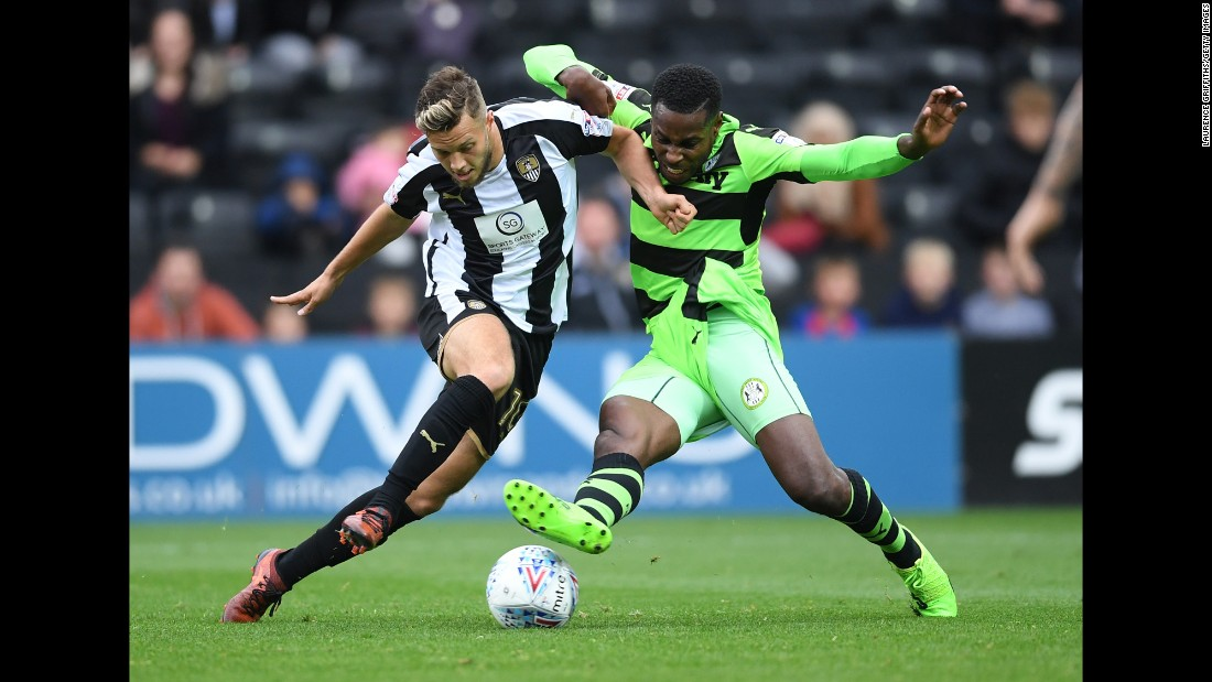 Jorge Grant of Notts County, left, battles with Dale Bennett of Forest Green Rovers during the Sky Bet League Two match on Saturday, October 7, in Nottingham, England.