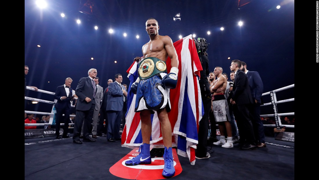 Chris Eubank Jr. celebrates winning the fight against Avni Yildirim during the Super Middleweight World Boxing Super Series fight in Stuttgart, Germany on Saturday, October 7.