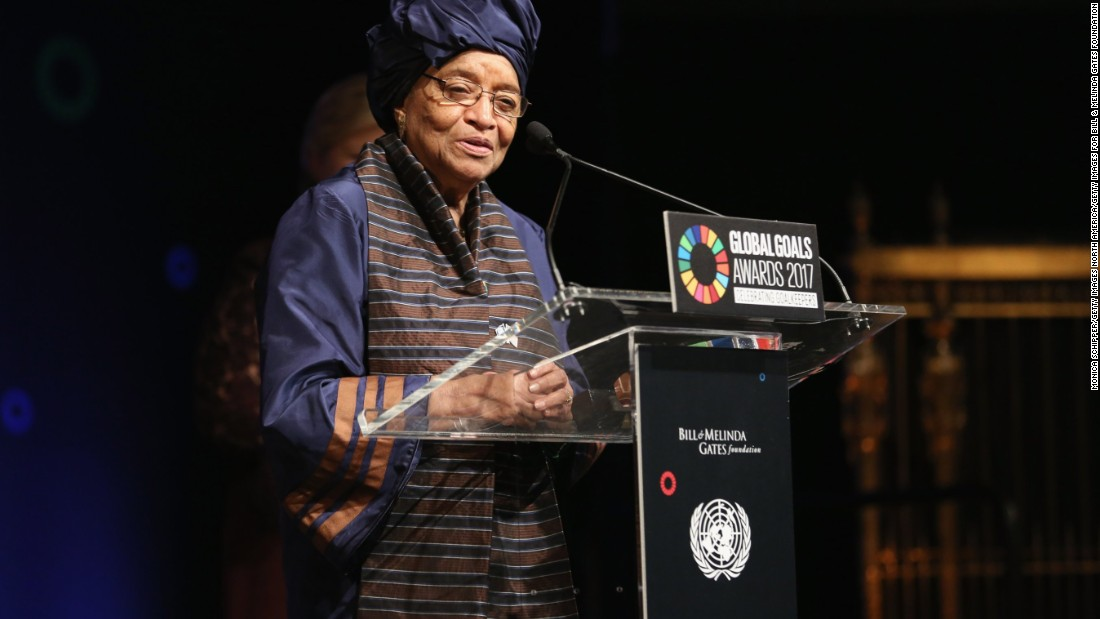 President of Liberia Ellen Johnson Sirleaf speaking on  stage at The Goalkeepers Global Goals Awards on September 19, 2017.<br />The event honored outstanding individuals who are accelerating progress towards the UN's Global Goals.