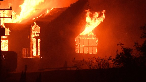 The Signorello Estate winery burns in the Napa wine region in California on October 9, 2017, as multiple wind-driven fires continue to whip through the region.  / AFP PHOTO / JOSH EDELSON        (Photo credit should read JOSH EDELSON/AFP/Getty Images)