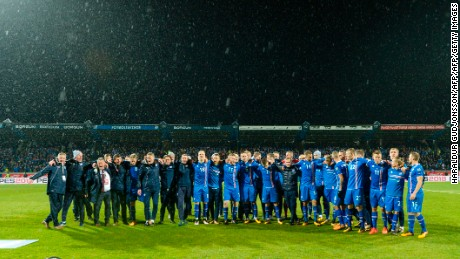 Iceland's team celebrate qualifying for Russia 2018
