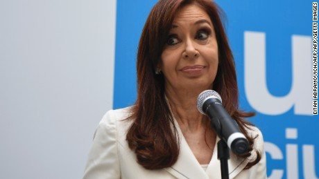 Argentina's former president and Buenos Aires senatorial candidate for the Unidad Ciudadana Party, Cristina Fernandez de Kirchner gestures during a press conference in Buenos Aires, on October 10, 2017, ahead of the October 22 legislative election. / AFP PHOTO / EITAN ABRAMOVICH        (Photo credit should read EITAN ABRAMOVICH/AFP/Getty Images)