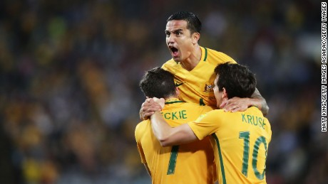 Tim Cahill celebrates after scoring Australia's first goal during the 2018 FIFA World Cup Asian Playoff match between the Australian Socceroos and Syria.