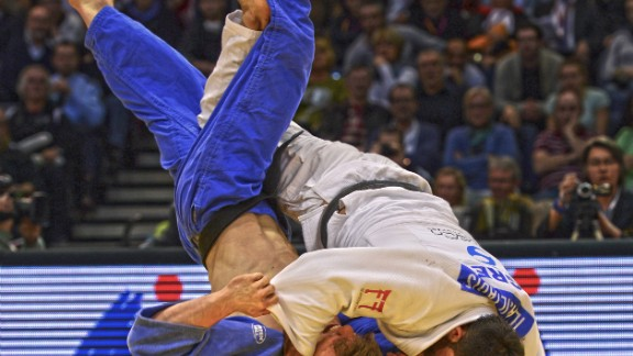 """""""Not such an historic moment, but one of my favorite action shots ever. Both men clear of the mat, in mid air, this is Iliadis throwing Noel Van T End with Uchi Mata to win the 2014 Dusseldorf Grand Prix."""""""