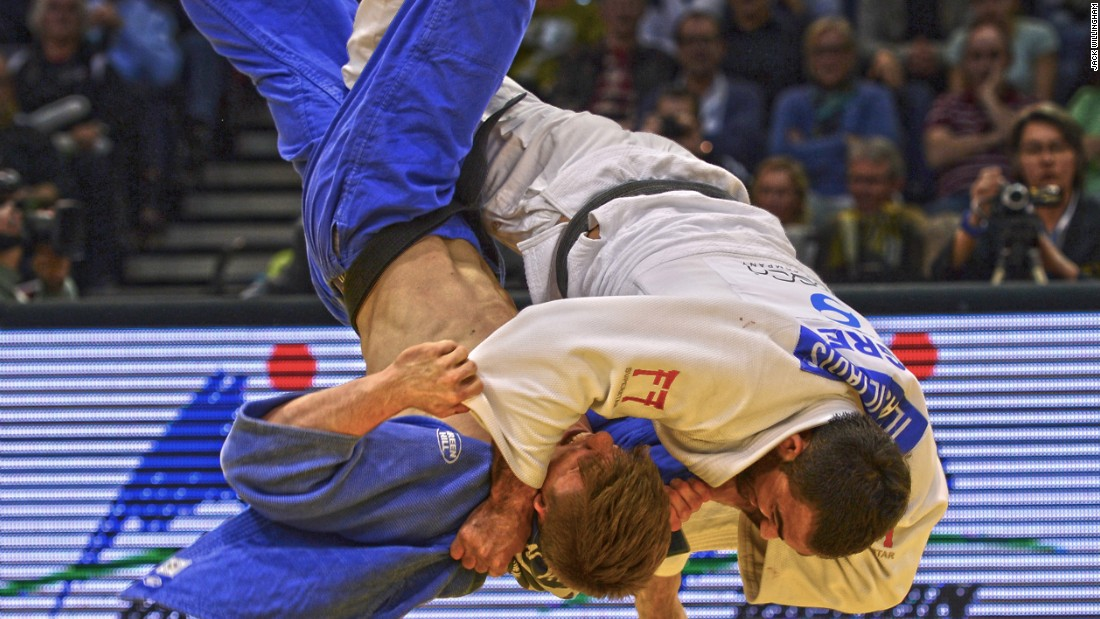 """Not such an historic moment, but one of my favorite action shots ever. Both men clear of the mat, in mid air, this is Iliadis throwing Noel Van T End with Uchi Mata to win the 2014 Dusseldorf Grand Prix."""