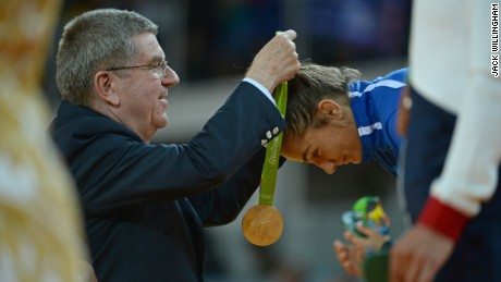 The precise moment Kelmendi was awarded Kosovo's first ever Olympic medal.