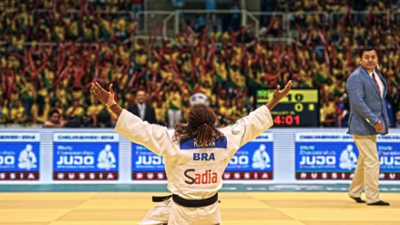Hailing from Cidade de Deus -- featured in the award-winning film the City of God -- Rafaela Silva  is another judoka that boasts an amazing story. Here she is celebrating becoming world champion in Rio in 2013.