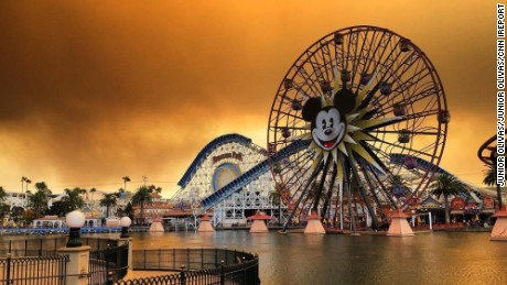 Junior Olivas took this photo of the wildfire haze and red skies at Disney's California Adventure in Anaheim, California.