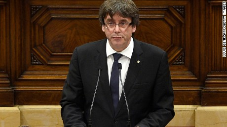 Catalan President Carles Puigdemont speaks at the Catalan Parliament in Barcelona.