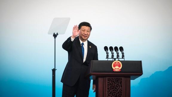 Chinese President Xi Jinping waves after a press conference at the BRICS Summit in Xiamen, Fujian province on September 5, 2017. Xi opened the annual summit of BRICS leaders that already has been upstaged by North Korea