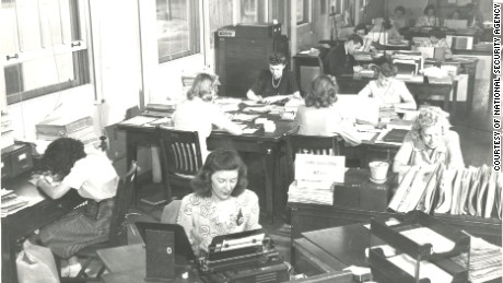 "At Arlington Hall, Ann Caracristi (far right), an English major from Russell Sage College, worked to develop ""order of battle"" shwoing the location of Japanese troops"