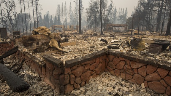This neighborhood in Santa Rosa, California, is covered in ash and debris after it was destroyed by fire.