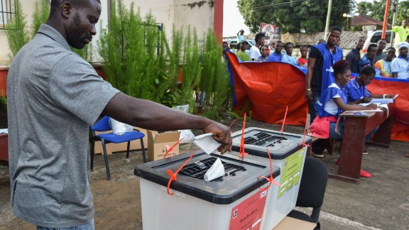 The elections have so far been peaceful as citizens braved long queues and hot weather to cast their votes. Outgoing president Ellen Johnson Sirleaf has spent the mandatory two-terms of 12 years and is stepping down.  Credit: Getty images