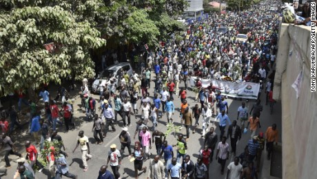 Supporters of opposition leader Raila Odinga march in Nairobi on Wednesday.