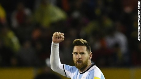 TOPSHOT - Argentina's Lionel Messi celebrates after scoring against Ecuador during their 2018 World Cup qualifier football match in Quito, on October 10, 2017. / AFP PHOTO / Juan Ruiz        (Photo credit should read JUAN RUIZ/AFP/Getty Images)