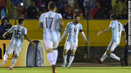 Argentina's Lionel Messi (2-R) celebrates after scoring against Ecuador during their 2018 World Cup qualifier football match in Quito, on October 10, 2017. / AFP PHOTO / Rodrigo BUENDIA        (Photo credit should read RODRIGO BUENDIA/AFP/Getty Images)