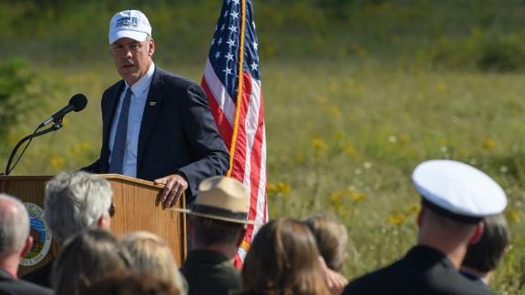 Visitors listen to Secretary of the Interior Ryan Zinke on September 10 in Shanksville, Pennsylvania.