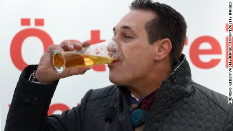 Heinz-Christian Strache of the right-wing Austrian Freedom Party after speaking to supporters at an election rally.