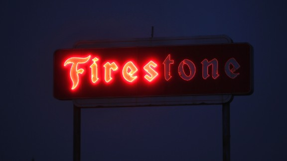 The sign of a Firestone store malfunctions in Santa Rosa on Tuesday, October 10.