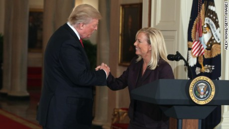 WASHINGTON, DC - OCTOBER 12:  U.S. President Donald Trump shakes the hand of White House Deputy Chief of Staff Kirstjen Nielsen during a nomination announcement at the East Room of the White House October 12, 2017 in Washington, DC. President Trump has nominated Nielsen to be the next homeland security secretary, the position that has left vacant by Chief of Staff John Kelly.