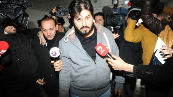 Reza Zarrab arriving at a police station in Istanbul on December 17, 2013.