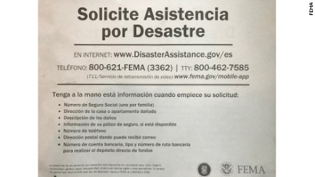 FEMA is distributing these notices in Puerto Rico directing residents to seek help by accessing the internet or using their phones.
