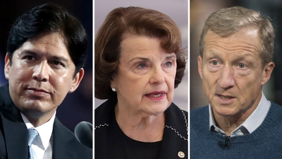 California state Senate leader Kevin de León, Sen. Dianne Feinstein and Tom Steyer