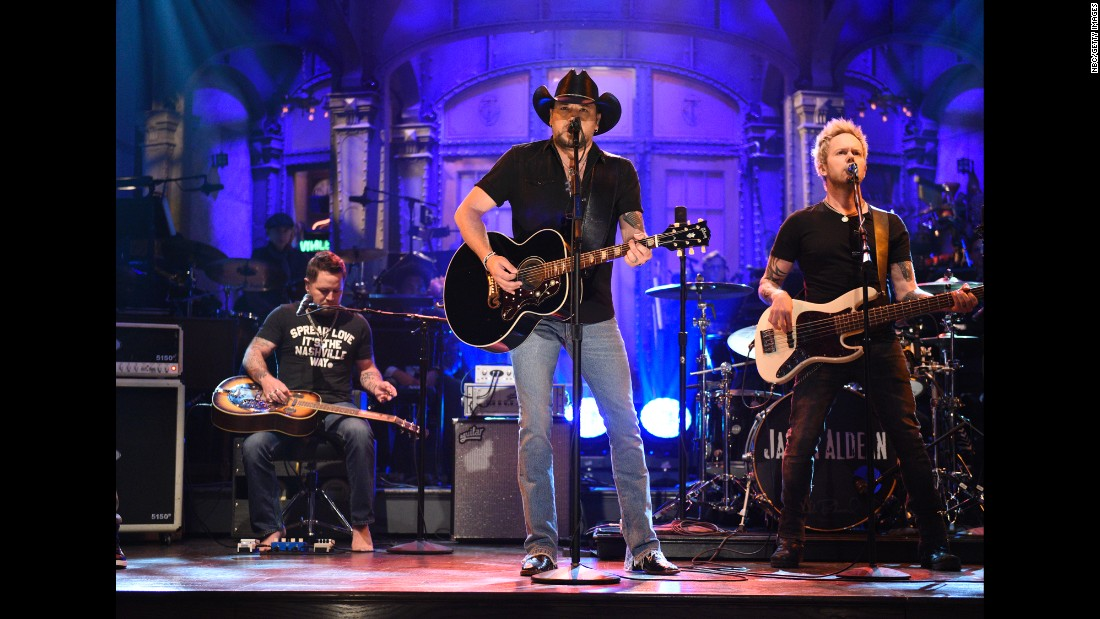 "Country singer Jason Aldean <a href=""http://money.cnn.com/2017/10/08/media/jason-aldean-saturday-night-live/index.html"" target=""_blank"">opens ""Saturday Night Live""</a> with a cover of the Tom Petty classic ""I Won't Back Down"" on Saturday, October 7. It was less than a week after a gunman <a href=""http://www.cnn.com/2017/10/02/us/gallery/las-vegas-shooting/index.html"" target=""_blank"">opened fire on a Las Vegas music festival,</a> killing at least 58 people in what was the deadliest mass shooting in modern US history. Aldean was performing at the festival when the gunman started shooting. The ""SNL"" song choice was even more poignant considering that <a href=""http://www.cnn.com/2017/10/03/entertainment/tom-petty-obit/index.html"" target=""_blank"">Petty had died that week</a> at the age of 66."