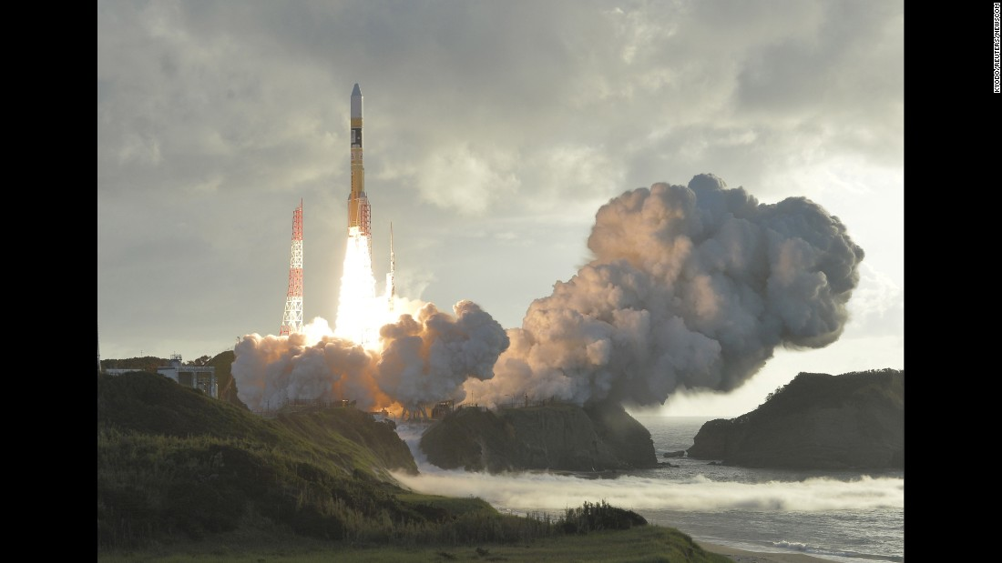 "A rocket carrying a satellite lifts off from the Tanegashima Space Center in Japan's Kagoshima Prefecture on Tuesday, October 10. <a href=""https://www.japantimes.co.jp/news/2017/10/10/national/science-health/japans-fourth-quasi-zenith-positioning-satellite-successfully-launches-orbit/#.Wd_D2BNSwlI"" target=""_blank"">According to The Japan Times,</a> the satellite is meant to improve the accuracy of GPS data for things like smartphones and self-driving vehicles."