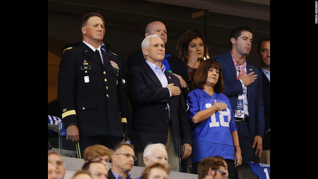 "US Vice President Mike Pence and his wife, Karen, stand for the National Anthem before an NFL football game in Indianapolis on Sunday, October 8. Pence, at the request of President Donald Trump, <a href=""http://www.cnn.com/2017/10/08/politics/vice-president-mike-pence-nfl-protest/index.html"" target=""_blank"">walked out of the stadium</a> after players from the San Francisco 49ers took a knee during the anthem."