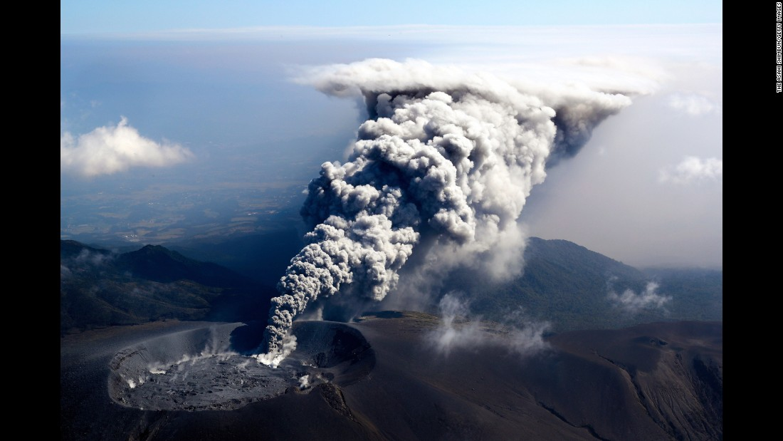 "Mount Shinmoedake spews volcanic ash in Kirishima, Japan, on Wednesday, October 11. <a href=""http://www.cnn.com/2017/10/05/world/gallery/week-in-photos-1006/index.html"" target=""_blank"">See last week in 35 photos</a>"