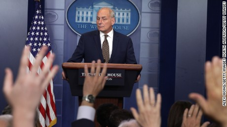 WASHINGTON, DC - OCTOBER 12:  White House Chief of Staff John Kelly pauses during a daily news briefing at the James Brady Press Briefing Room of the White House October 12, 2017 in Washington, DC. In a rare appearance at the news briefing Kelly stated he had no plans to resign or reason to believe he would be fired.  (Photo by Alex Wong/Getty Images)