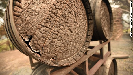 Burned wine barrels at Paradise Ridge Winery in Santa Rosa, California.