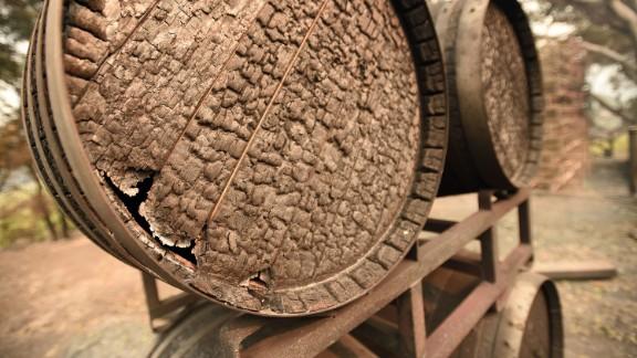 Burned wine barrels at Paradise Ridge Winery in Santa Rosa, California.