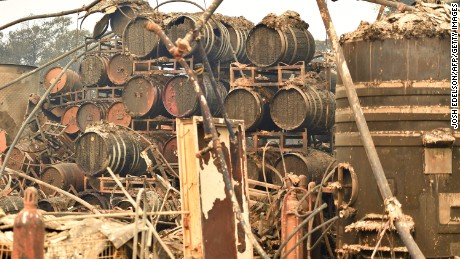 Burned wine barrels are seen at the destroyed Paradise Ridge Winery in Santa Rosa on October 10.
