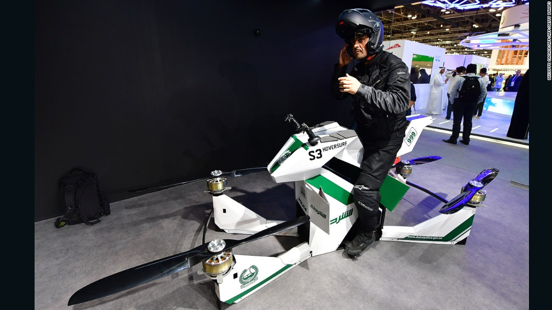 Dubai Police are not alone in utilizing innovative flying vehicles. Companies around the world are coming up with new designs for vertical take-off and landing (VTOLs) aircraft.<br /><br /><strong>Hoversurf</strong> -- This Russian-designed hoverbike is the newest addition to Dubai Police's tech squad.