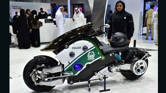 A new electric motorbike concept unveiled by Dubai Police at Gitex 2017.